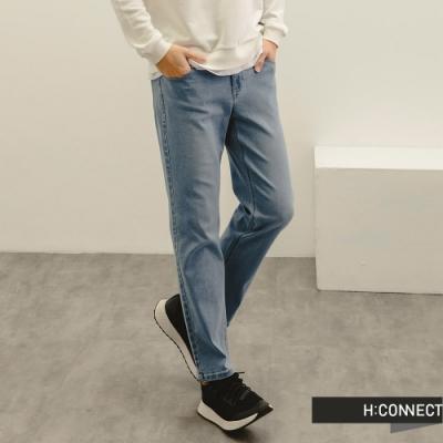 H:CONNECT 韓國品牌 男裝-率性Straight直筒牛仔褲-深藍色