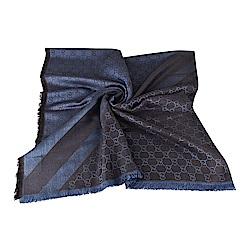 GUCCI 經典GG緹花LOGO羊毛蠶絲披肩圍巾(深藍)