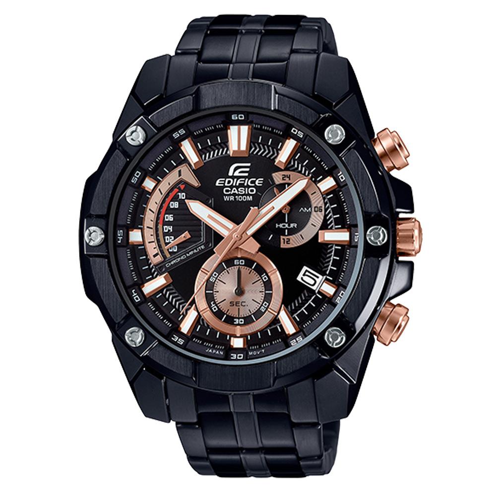 EDIFICE粗曠質感搶眼大錶面不鏽鋼腕錶(EFR-559DC-1)黑離子IP/49.5m