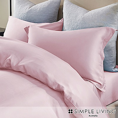 澳洲Simple Living 雙人600織台灣製天絲床包枕套組(櫻花粉)
