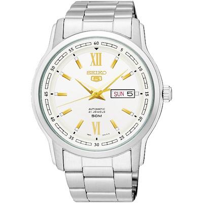 SEIKO 精工盾牌五號時尚機械手錶SNKP18J1-銀/43mm
