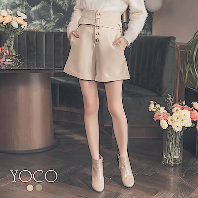 東京著衣-yoco 胸下都是腿!附腰帶高腰排釦反褶短褲-S.M.L(共二色)