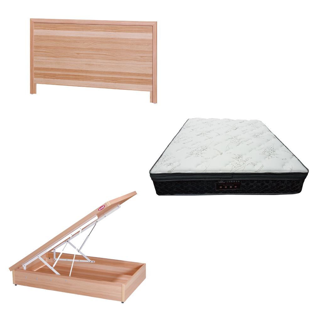 綠活居 梅可3.5尺單人床台三式組合(床頭片+後掀床底+正三線乳膠獨立筒)五色可選