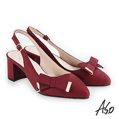 A.S.O 義式簡約 柔軟皮革甜美印象高跟鞋 酒紅