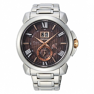 SEIKO 精工Premier 人動電能萬年曆手錶-42.9mm(SNP157J1)
