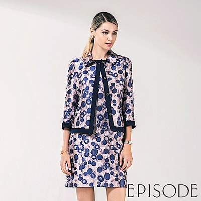 EPISODE - 圓點幾何修身洋裝(藍)