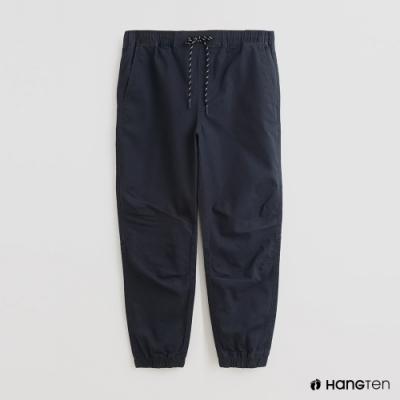 Hang Ten - 男裝 - 素面抽繩寬版休閒長褲 - 藍