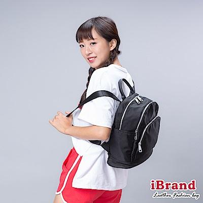 iBrand後背包 簡約真皮多口袋後背包-黑