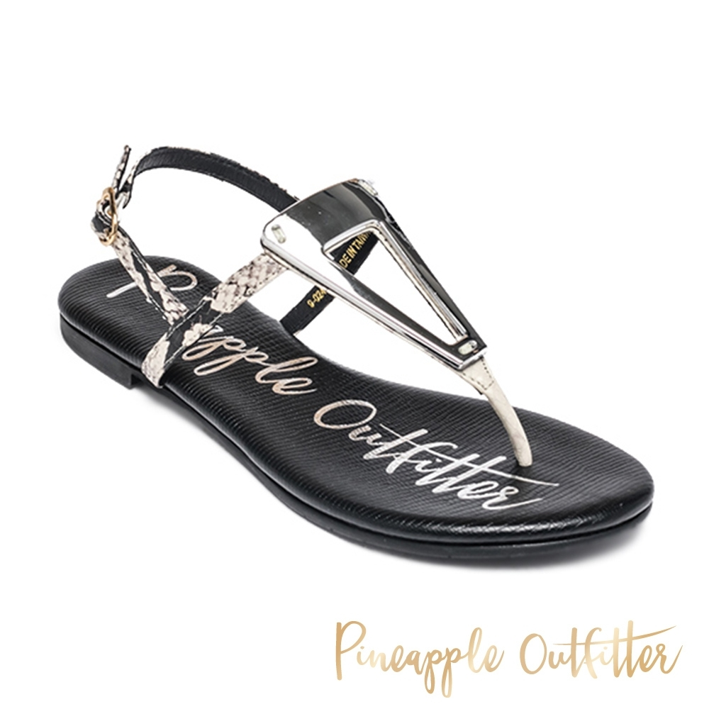 Pineapple Outfitter 時尚質感三角金屬夾腳拖涼鞋-蛇皮黑