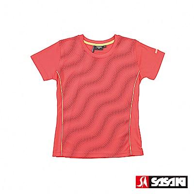 SASAKI 長效性吸排汗功能圓領短衫-女-珊瑚紅/暗紅
