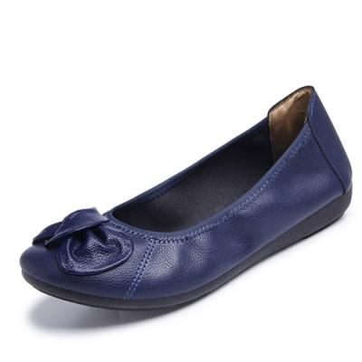 韓國KW美鞋館-簡約休閒大蝴蝶平底鞋-藍色