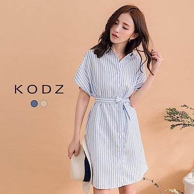 東京著衣-KODZ 歐美休閒條紋綁帶襯衫洋裝(共二色)