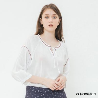 Hang Ten-女裝-綁帶花邊造型上衣-白