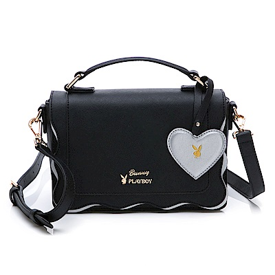 PLAYBOY- 手提包附長背帶 薔薇花語系列-黑色
