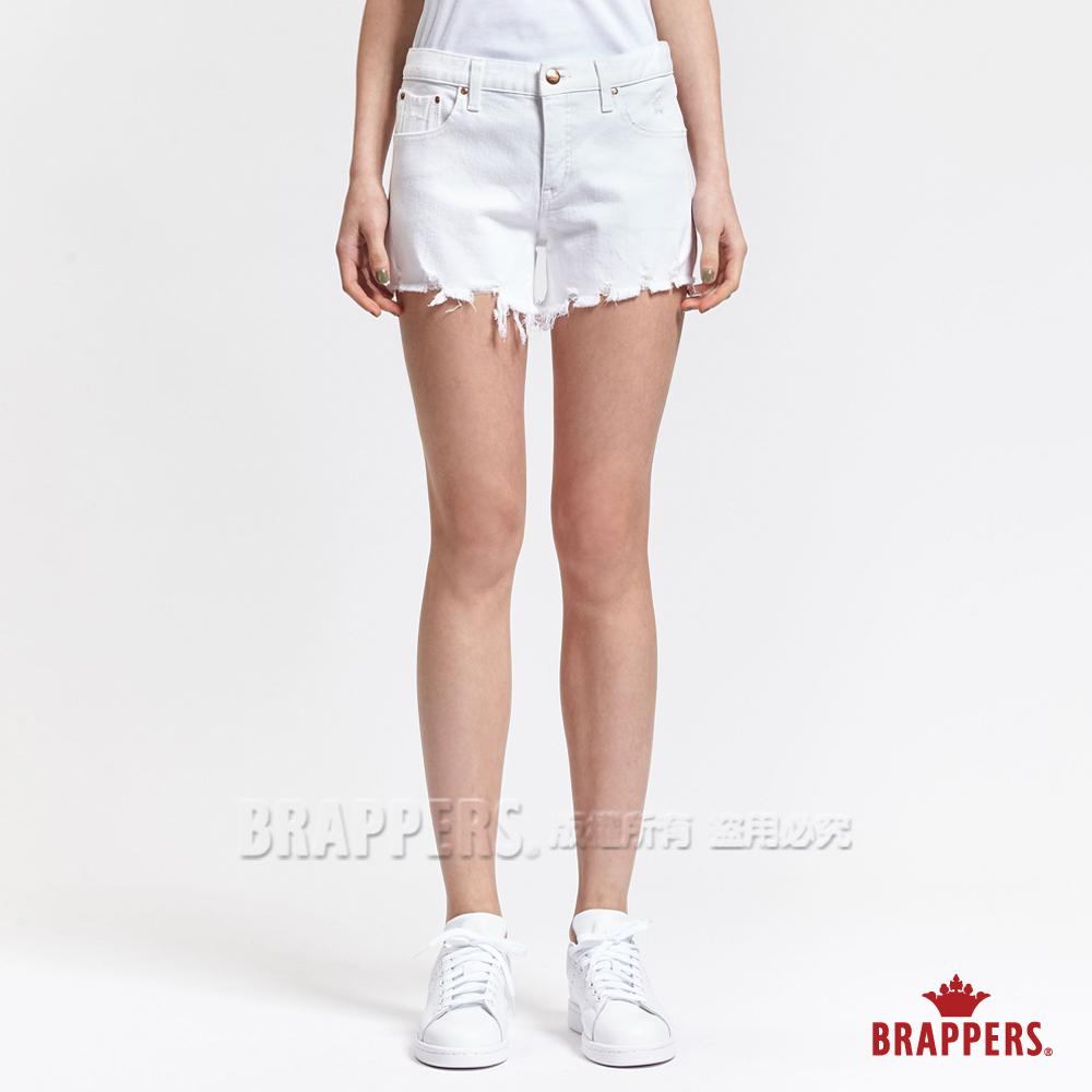 BRAPPERS 女款 BoyFriend系列-女用褲口不收邊磨破短褲-白