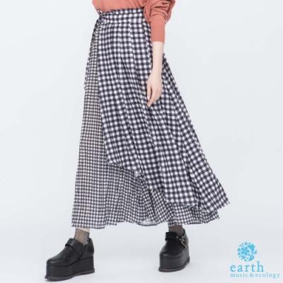 earth music  格紋拼接褲裙