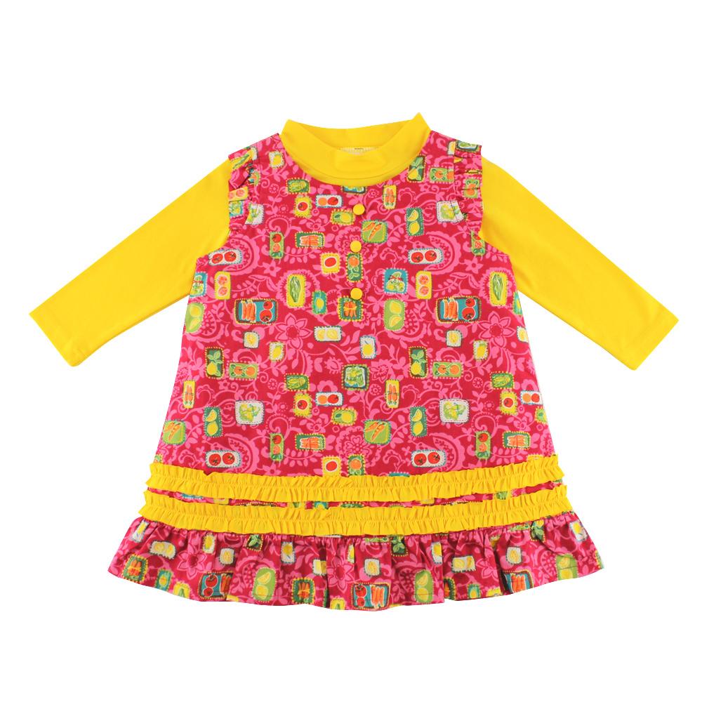 愛的世界 園藝女孩2件式背心裙長袖套裝
