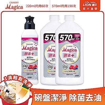 日本獅王LION Charmy Magica濃縮洗潔精 莓果 220mlx1+570mlx2