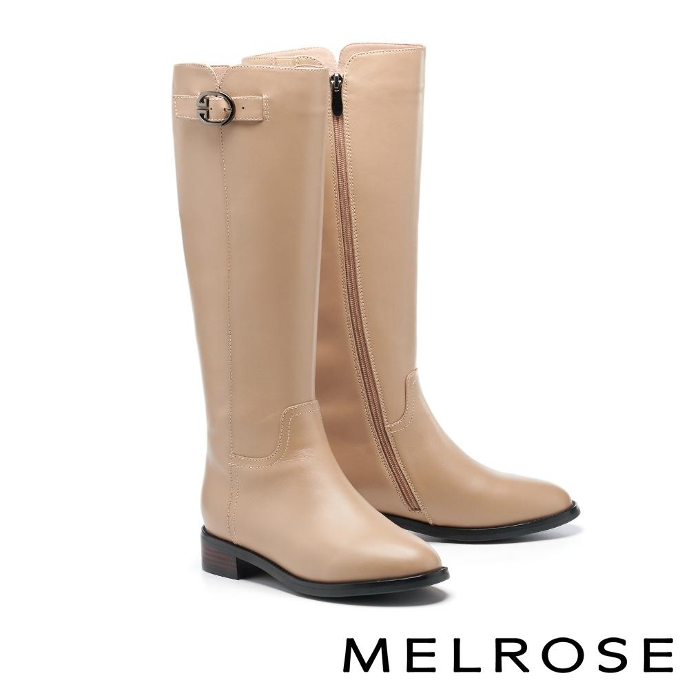 長靴 MELROSE 質感時髦牛皮純色繫帶造型低跟長靴-杏