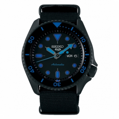 SEIKO 精工 5 Sports 系列藍色機械錶(SRPD81K1)x尼龍x42.5mm