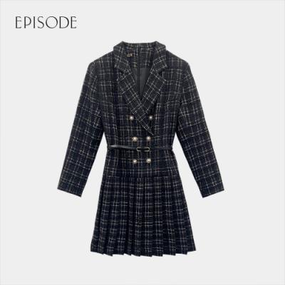 EPISODE - 黑色斜紋軟呢格紋百褶裙擺西裝款洋裝