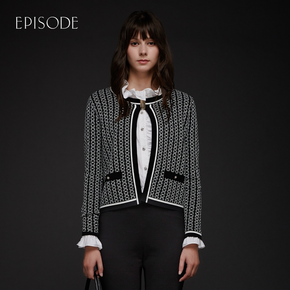 EPISODE - 黑白交織精緻鑲邊百搭短款針織開衫外套