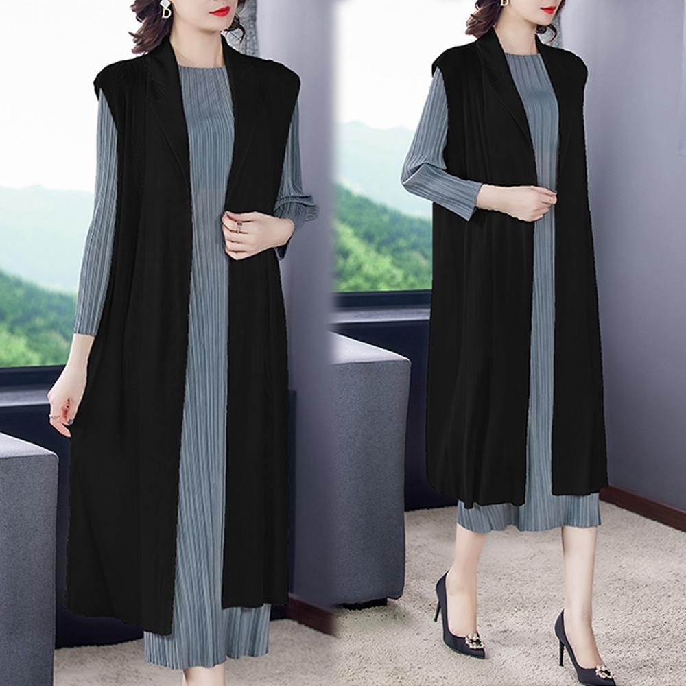 【KEITH-WILL】(預購)韓新品俐落優雅壓褶背心外套(共3色) (黑色)