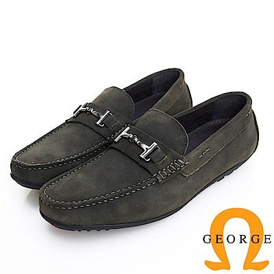 GEORGE 喬治皮鞋 經典系列 質感飾釦麂皮樂福鞋-墨綠