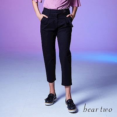 beartwo 素面前打褶設計感腰帶長褲 (兩色)