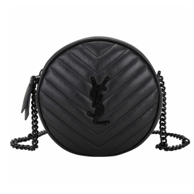 YSL Saint Laurent Vinyle 天然皮紋鍊帶斜背圓餅包(黑色)