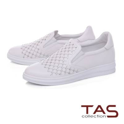 TAS菱格紋拼接水鑽牛皮休閒鞋-閃耀白