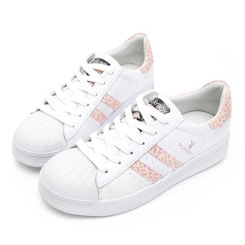 PLAYBOY 豹紋條紋仿皮休閒鞋-粉豹-Y6319JS