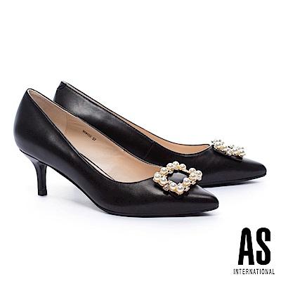 高跟鞋 AS 優雅奢華珍珠方飾釦羊皮尖頭高跟鞋-黑
