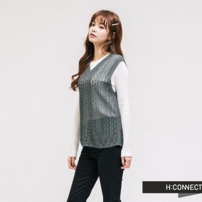 H:CONNECT 韓國品牌 女裝 - V領針織鏤空背心 - 綠