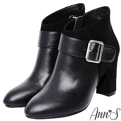 Ann'S技巧女人味-拼接銀方扣斜口粗跟短靴-黑