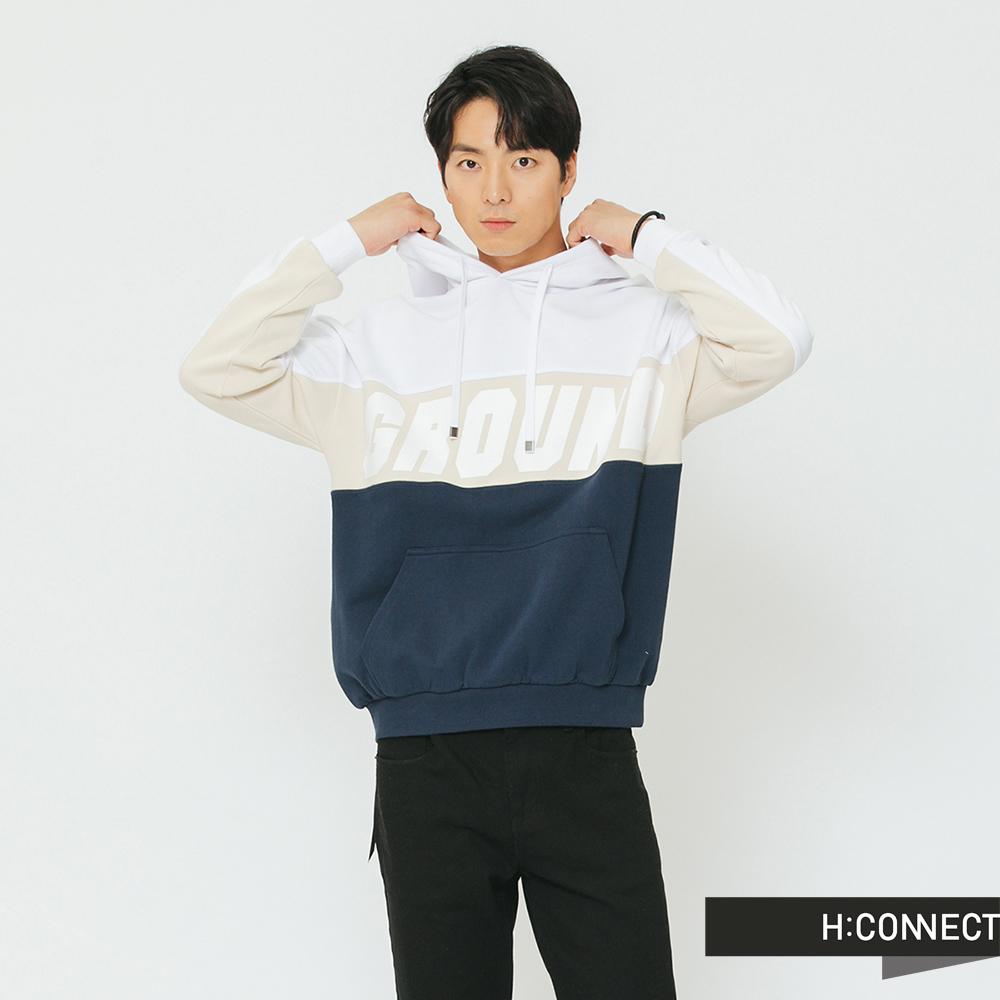 H:CONNECT 韓國品牌 男裝-運動撞色抽繩帽T-白