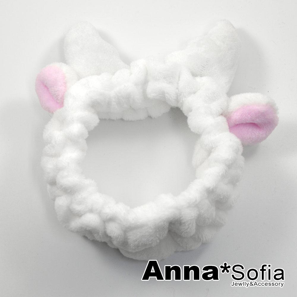 【3件480】AnnaSofia 網紅Q麋鹿 毛絨洗臉彈性寬髮帶(白系)