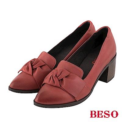 BESO 個性品味 蝴蝶結尖頭樂福粗跟鞋~紅