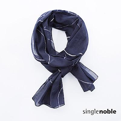 獨身貴族 麥田矩陣海軍藍圓圈圖騰絲巾(1色)