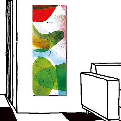 24mama掛畫 單聯式直幅抽象無框畫-紅花綠映30x80cm