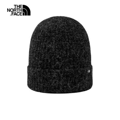 The North Face北面男女款黑色反摺針織毛帽|4VU8JK3