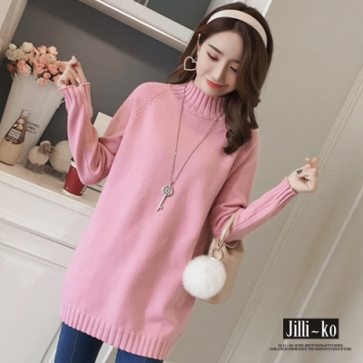 JILLI-KO 高領落肩款素色長版針織上衣- 粉/白/灰