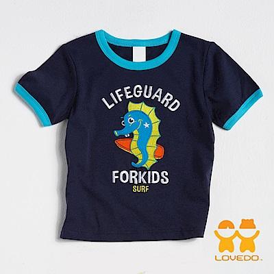【LOVEDO-艾唯多童裝】帥氣四射海馬 拼布式短袖T恤 (深藍)