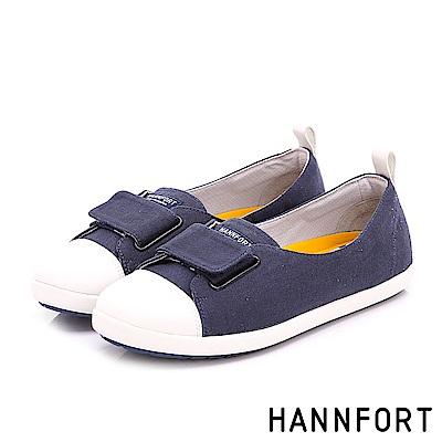 HANNFORT CALIFORNIA魔術帶帆布休閒鞋-女-深藍