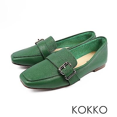KOKKO-品味梨泰院方頭柔軟彎折樂福鞋-銀杏綠