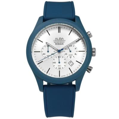 ALBA 礦石強化玻璃 三眼計時 日期 防水100米 矽膠手錶-銀白x藍/44mm