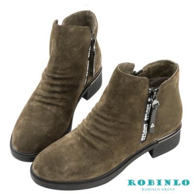Robinlo 帥氣抓皺西部休閒短靴 綠色