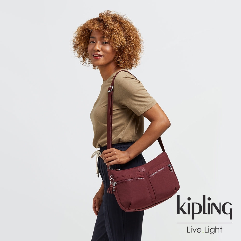 Kipling 迷人微醺紅雙拉鍊前袋肩背包-IZELLAH
