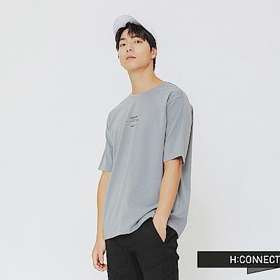 H:CONNECT 韓國品牌 男裝-簡約膠印標語T-shirt-藍綠色