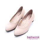 bellwink-素面純色皮革低跟鞋-駝-b1001lc